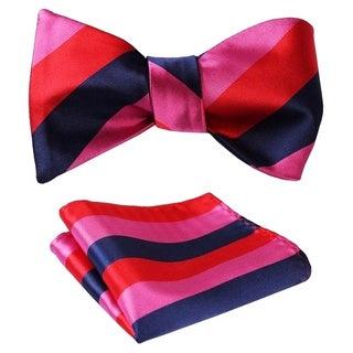 Dmitry Men's Stripe Jacquard Woven Self Bow Tie Set