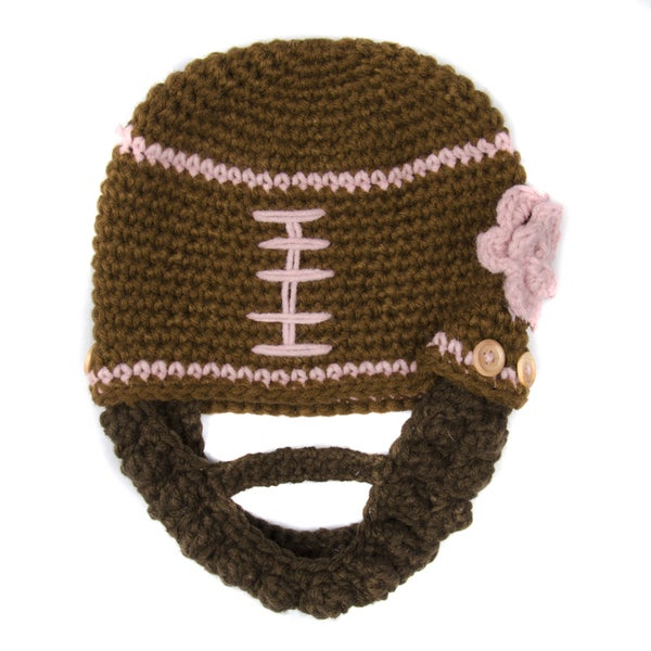 Crummy Bunny Brown and Pink Football Beanie with Removable Beard (1 - 3 Years)