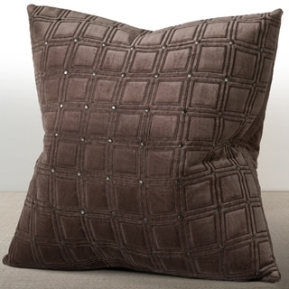 Meridian Espresso Velvet 20-inch Feather and Filled Luxury Pillow with Hand-applied Metal Studs