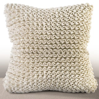 Madrygal Ivory Rosette 18-inch Feather and Down Filled Luxury Pillow