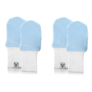 Crummy Bunny No Scratch Blue Cotton Baby Mittens (Set of 2)