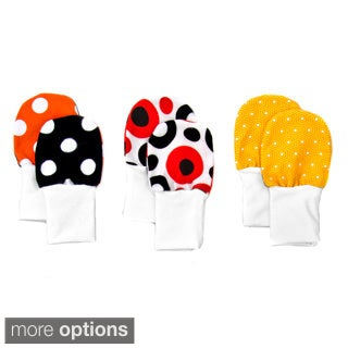 Crummy Bunny No Scratch Stay-on Red/ Black/ Orange Dots Baby Mittens (Set of 3)