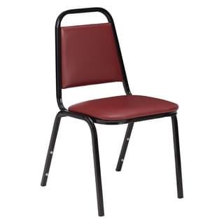 Standard Burgundy Vinyl-upholstered Stack Chair (Pack of 12)