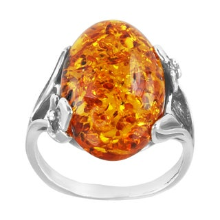 Sterling Silver Oval-cut Champagne Baltic Amber Ring