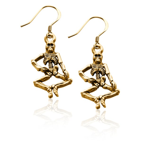 Gold over Silver Skeleton Charm Earrings