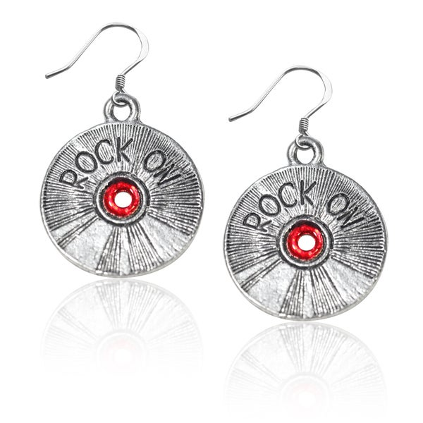 Sterling Silver Rock on CD Charm Earrings