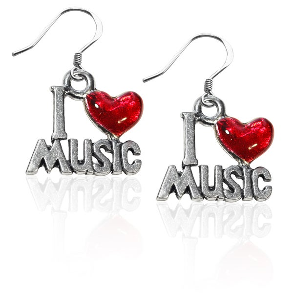 Sterling Silver I Love Music Charm Earrings