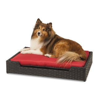 Petmate Poly Wicker Pet Bed with Red Cushion