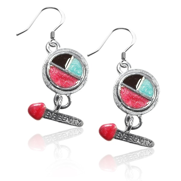 Sterling Silver Eye Shadow and Brush Charm Earrings 15817461