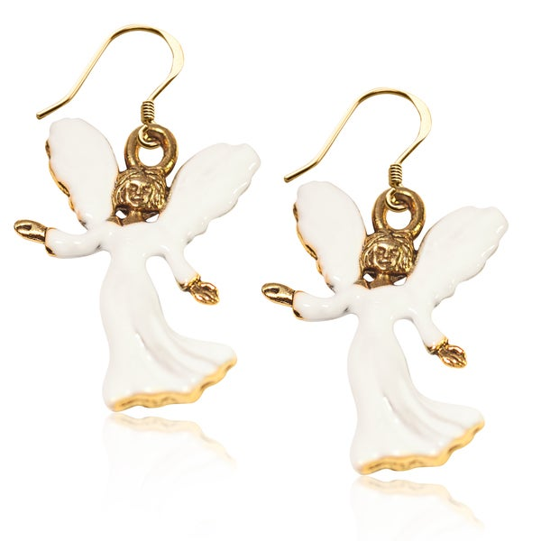 Gold over Silver Angel Charm Earrings