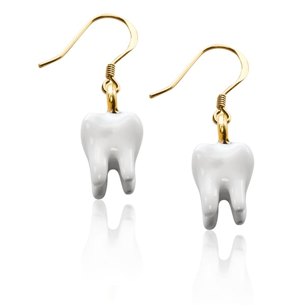 Gold over Silver Tooth Charm Earrings