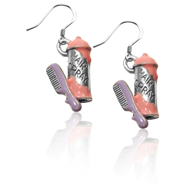 Sterling Silver Hair Spray and Comb Charm Earrings