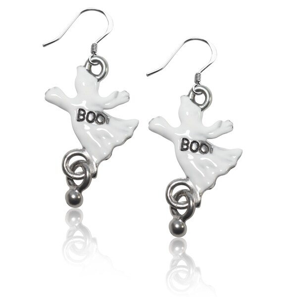 Sterling Silver Ghost Charm Earrings