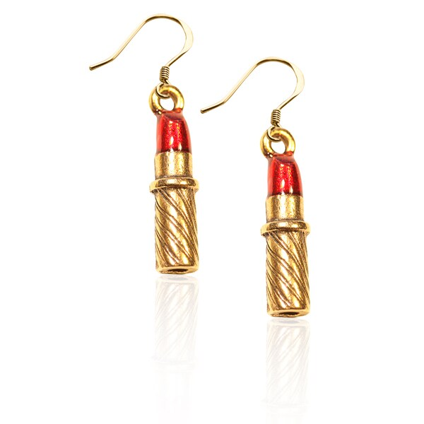 Gold over Silver Lipstick Charm Earrings