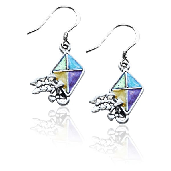 Sterling Silver Kite Charm Earrings