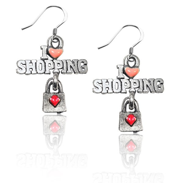 Sterling Silver I Love Shopping Charm Earrings