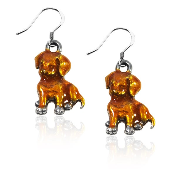 Sterling Silver Puppy Charm Earrings