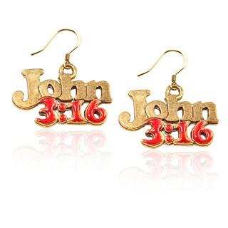 Gold over Silver John 3:16 Charm Earrings