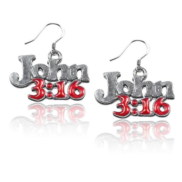 Sterling Silver John 3:16 Charm Earrings