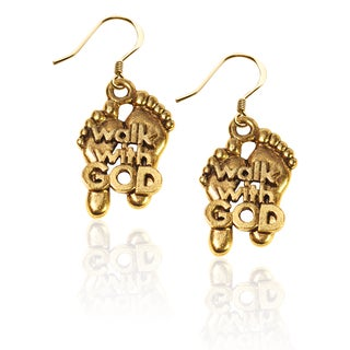 Gold over Silver Walk with God Feet Charm Earrings