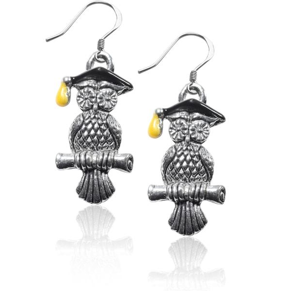Sterling Silver Owl Charm Earrings