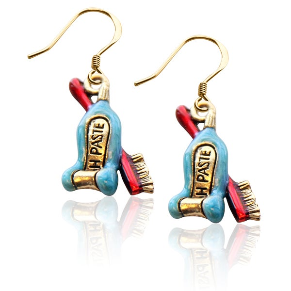 Gold over Silver Tooth Paste with Brush Charm Earrings