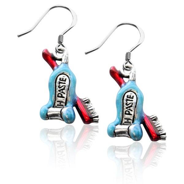 Sterling Silver Tooth Paste with Brush Charm Earrings