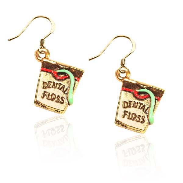 Gold over Silver Dental Floss Charm Earrings