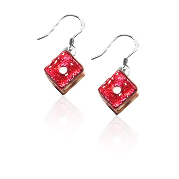 Sterling Silver Dice Charm Earrings