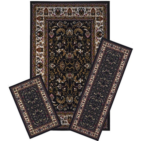 3-piece Black/ Brown Traditional Oriental Floral Area Rug Set
