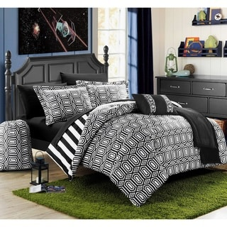 Chic Home Geometric and Striped Reversible 10-piece Bed in a Bag Set