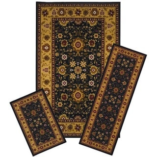 3-piece Black/ Gold Traditional Oriental Floral Area Rug Set