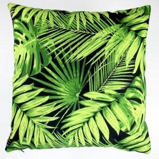 Artisan Pillows Indoor/Outdoor 18-inch Tropical Fronds in Black Modern Coastal Beach Hawaiian Throw Pillow (Set of 2)