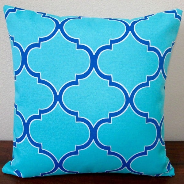 Artisan Pillows Indoor/Outdoor 18-inch Turquoise Modern Coastal Blue/Green Geometric Throw Pillow (Set of 2)