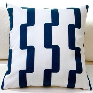 Artisan Pillows Indoor/Outdoor 18-inch Rhyme Stripe in Navy Blue Modern Geometric Stripe Throw Pillow (Set of 2)