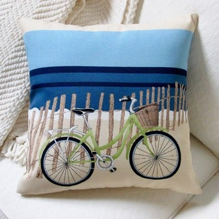 Artisan Pillows Indoor/Outdoor 18-inch Beach Bike Blue Modern Coastal Decor Beach House Throw Pillow (Set of 2)