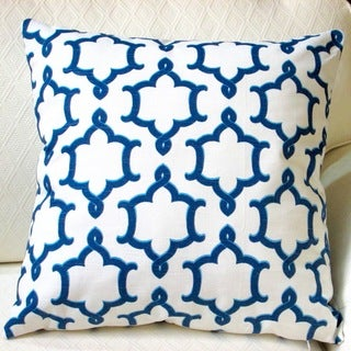Artisan Pillows Indoor 20-inch Medina Slub Blue Ivory Modern Geometric Accent Throw Pillow Cover