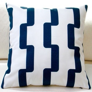 Artisan Pillows Indoor/Outdoor 18-inch Rhyme Stripe in Navy Blue Modern Geometric Stripe Throw Pillow Cover (Set of 2)