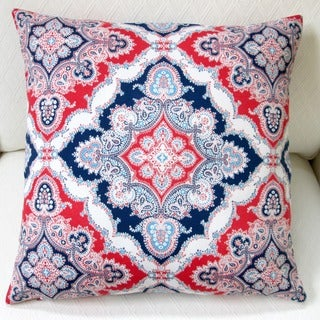 Artisan Pillows Indoor/Outdoor 20-inch Modern Navy Blue/Red Marine Coastal Geometric Throw Pillow Cover (Set of 2)