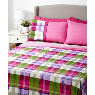 Glory Home Design 6-piece Queen 1000 Series Collection Pink Plaid