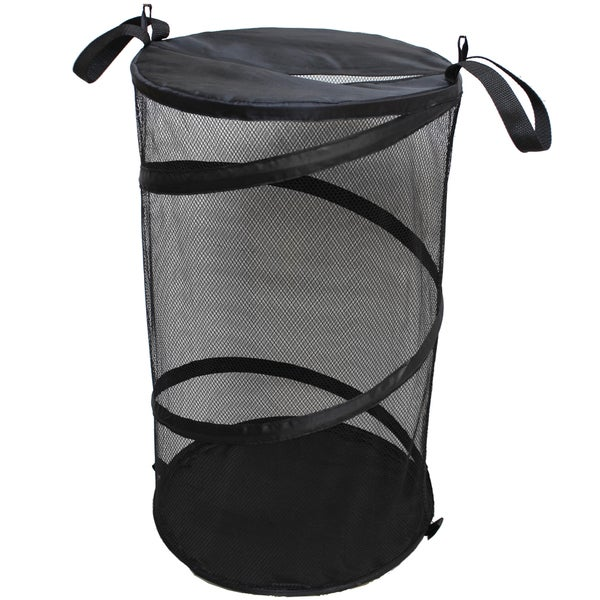 Black Mesh Collapsible Laundry Hamper