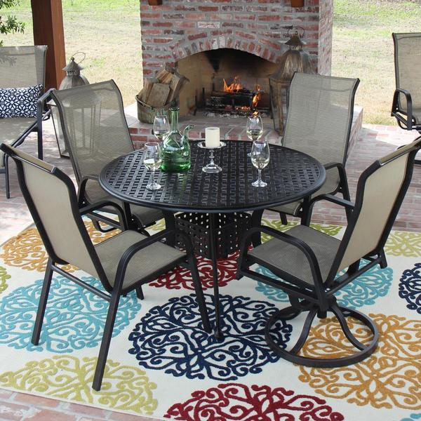 Madison Bay 4-Person Sling Patio Dining Set with 2 Swivel Rockers And Round Table