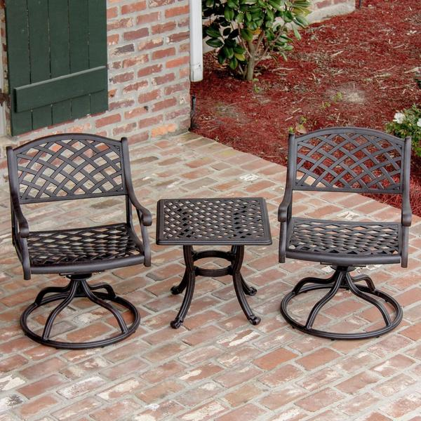 heritage 2 person cast aluminum patio bistro set with swivel rocking chairs 17462305. Black Bedroom Furniture Sets. Home Design Ideas