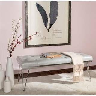 Safavieh Marcella Grey/ Chrome Bench