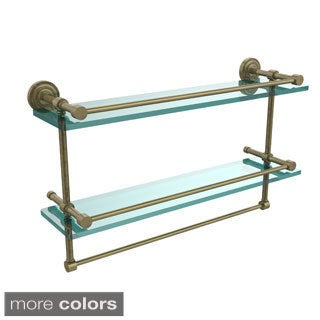 Allied Brass Dottingham 22-inch Gallery Double Glass Shelf with Towel Bar