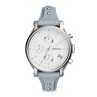 Fossil Women's Original Boyfriend Silver Dial Blue Leather Chronograph Watch ES3820