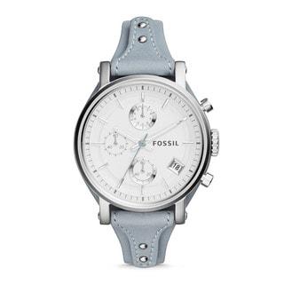 Fossil Women's Original Boyfriend Silver Dial Blue Leather Chronograph Watch ES3820