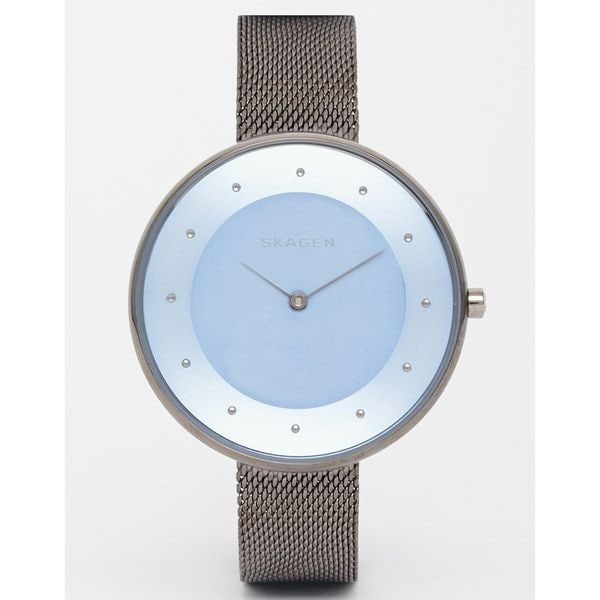 Skagen Women's Gitte Grey/Blue Dial Steel Mesh Strap Watch SKW2292
