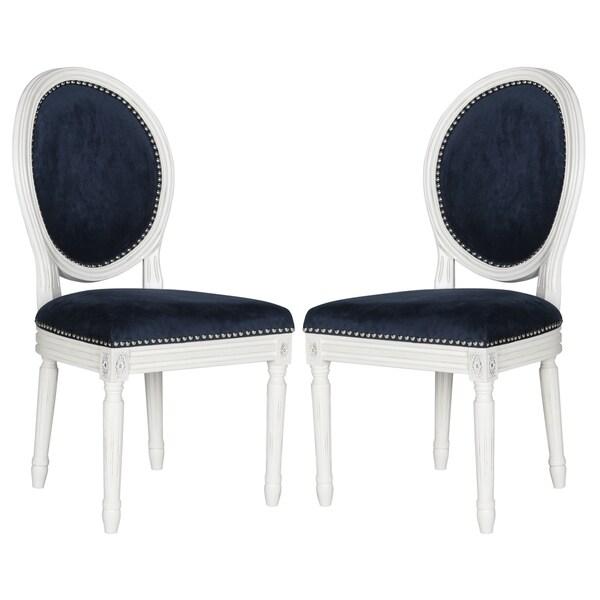 Safavieh Holloway Navy Velvet Oval Side Chair (Set of 2)
