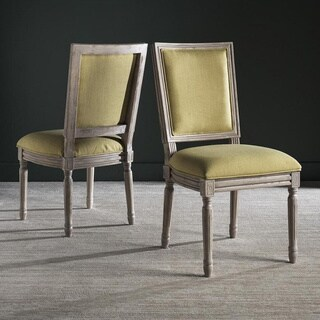 Safavieh Old World Dining Buchanan Spring Green Linen Side Chairs (Set of 2)